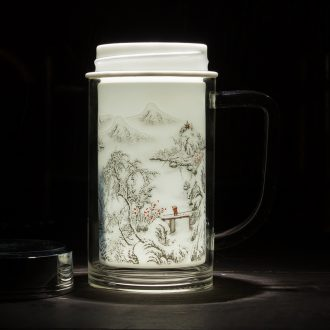 Jingdezhen ceramic snow keep - a warm glass cup double office cup insulation cup boss cup custom logo