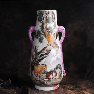 Archaize of jingdezhen ceramics powder enamel in the 80 s trunk beasts vase crafts home furnishing articles sitting room