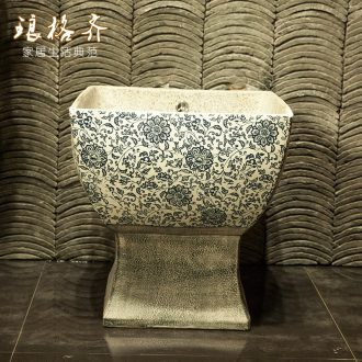 Indoor and is suing ceramic art basin mop mop pool ChiFang one - piece mop pool 42 cm diameter ash cyanine