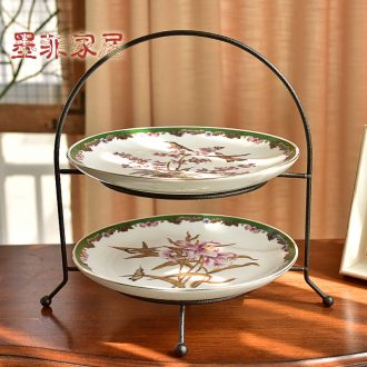 Double murphy American country of new Chinese style ceramic bowl sitting room tea table, wrought iron 'lads' Mags' including nuts, snack plate of home furnishing articles