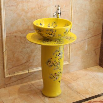 Jingdezhen ceramic art porcelain pillar lavabo basin of European I and contracted the balcony floor toilet is the pool that wash a face