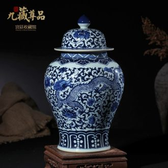 Blue and white porcelain of jingdezhen ceramics general tank furnishing articles of Chinese style living room TV cabinet storage tank decorative arts and crafts