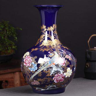 Jingdezhen ceramics vase landing large flower arranging new Chinese style home sitting room adornment TV ark, furnishing articles