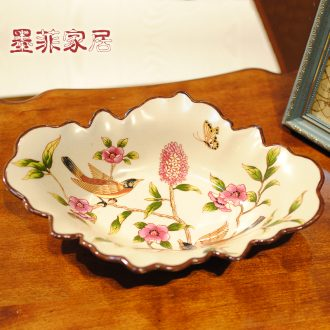 Murphy 's new Chinese style classical checking ceramic fruit bowl American country restaurant dried fruit snacks sitting room tea table plate