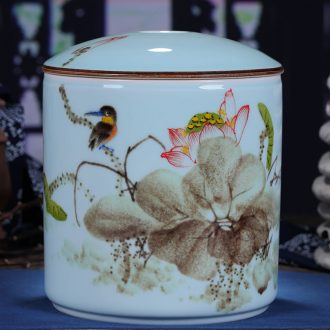 Jingdezhen ceramic large puer tea cake caddy fixings packaging box with puer tea cake tin POTS