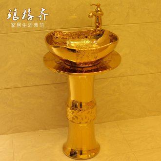 Ceramic basin one pillar basin of wash one lavatory basin, toilet basin of pillar type face basin column the console