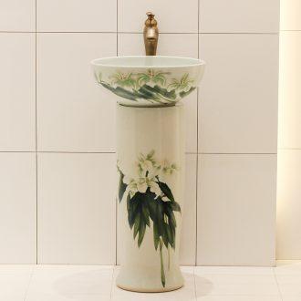 Basin one - piece stage art of jingdezhen ceramic Basin balcony column Basin bathroom sink