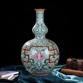 Jingdezhen ceramic vase high-end antique pastel gourd vases, flower god of home decoration crafts