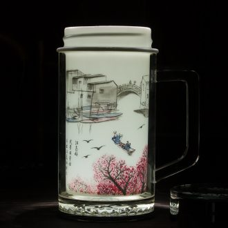 Jingdezhen ceramic tank vacuum insulation cup of water glass office cup car cup 508 ml customized gifts