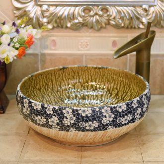 Jingdezhen blue and white rhyme ceramic art basin up jump cut on the basin that wash a face basin sinks lavabo xiancai basins