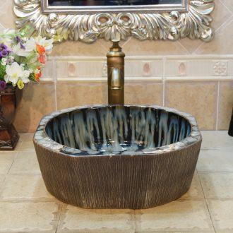 Jingdezhen ceramic lavatory basin basin sink art stage star grey black jump cut flow glaze up