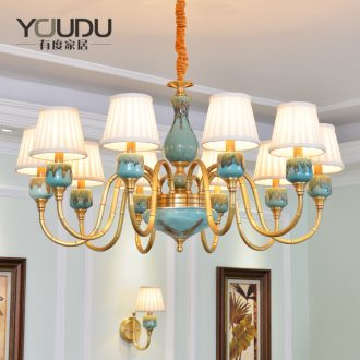 American droplight sitting room whole bedroom contracted copper chandelier Mediterranean restaurant ceramic double entry building European - style villa copper lamp