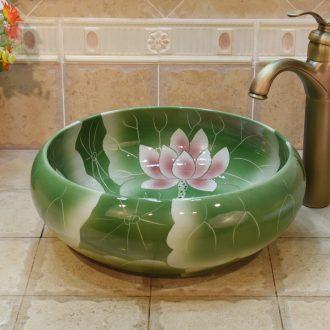 Jingdezhen ceramic art basin type, shallow green lotus lavatory basin stage basin sink