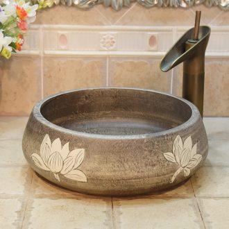 Jingdezhen ceramic lavatory basin basin art on the sink basin basin admiralty imitation stone, white lotus