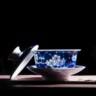 Jingdezhen hand-painted ceramic three tureen manual only worship of blue and white porcelain teacup hand grasp kimchi bowl bowl of kung fu tea set