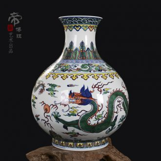 Jingdezhen ceramics imitation qing yongzheng hand-painted color porcelain dou okho spring vase household crafts are sitting room