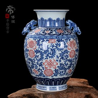 Jingdezhen blue and white ceramics sweet ears and antique bronze vase home sitting room adornment handicraft furnishing articles