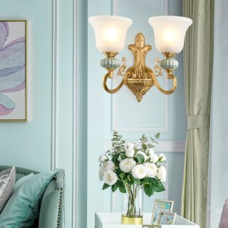 American whole copper ceramic wall lamp of the head of a bed of European - style decorative light sitting room the bedroom of lamps and lanterns study corridor corridor wall lamp