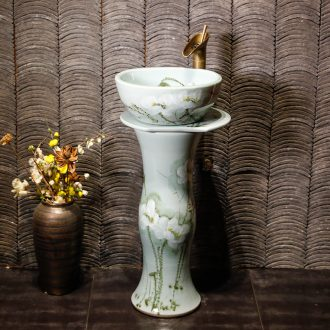 Ceramic column type lavatory basin integrated toilet floor balcony art basin vertical to the sink