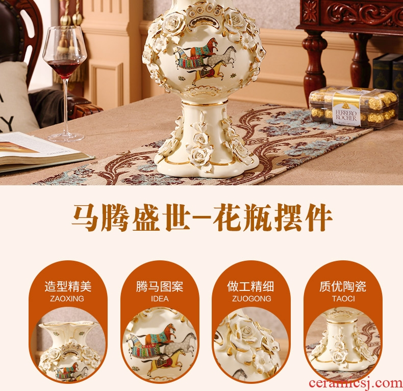 Jingdezhen blue and white ceramics hand - made peony landing big vase home sitting room adornment hotel furnishing articles - 565565686757