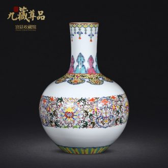 Jingdezhen antique hand-painted bound branch lotus tree porcelain enamel painted pottery porcelain vases decorative furnishing articles in the living room