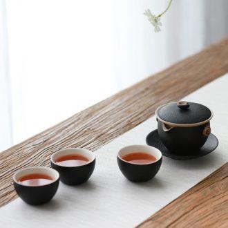 Million kilowatt/hall kung fu tea set ceramic tea set three cup tea of a complete set of machine this cup of the teapot