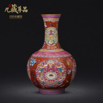 Jingdezhen ceramics imitation qing qianlong hand-painted paint powder enamel bottle collection sitting room home decoration furnishing articles