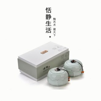 Quiet life ceramic tea caddy seal storage tank black tea green tea, porcelain tea packaging gift box