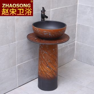 Pillar lavabo household one wash basin bathroom ceramic floor type lavatory frosted outdoor pool