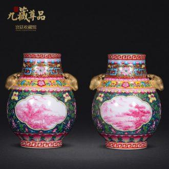 Jingdezhen ceramics antique hand-painted colour enamel window rouge landscape f barrels vase crafts