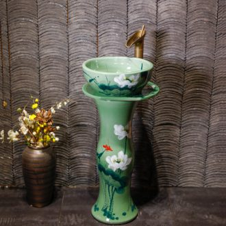 Basin of wash one one small ceramic column type washs a face basin bathroom column column vertical floor type household
