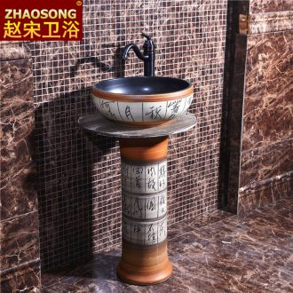 Europe type restoring ancient ways outdoor column basin bathroom sinks outdoor balcony sink basin household ceramics