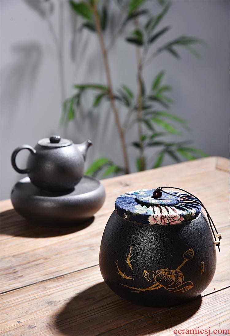 Quiet life black pottery tea pot seal pot of pu 'er tea green tea POTS white porcelain ceramic storage tanks
