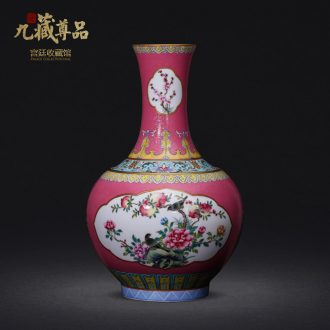 Jingdezhen ceramics imitation qing qianlong hand-painted window powder enamel bottle collection sitting room home decoration furnishing articles