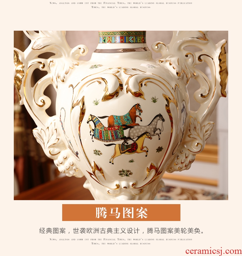 Creative designers vase furnishing articles large ceramic flower arranging device north European style living room home soft decoration light key-2 luxury - 569138169002