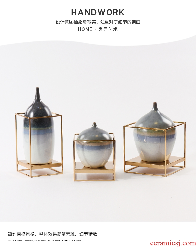 Jingdezhen ceramic furnishing articles of Chinese style landing a large sitting room hotel villa vase dried flowers home decoration - 572538547873