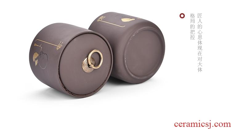 Quiet life ceramic tea caddy fixings seal pot yixing undressed ore tea purple sand tea custom box