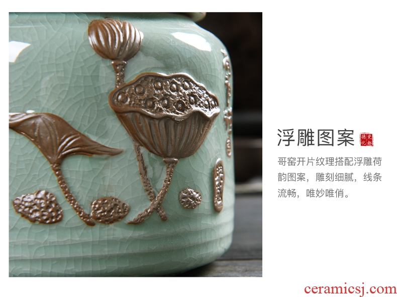 Famed anaglyph elder brother up caddy fixings ceramic seal tank, ice crack warehouse storage jar tea tea boxes