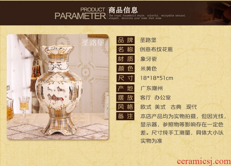 Jingdezhen big hand paint ceramic vase furnishing articles sitting room be born Chinese celadon decoration hotels high - grade decoration - 43425275579