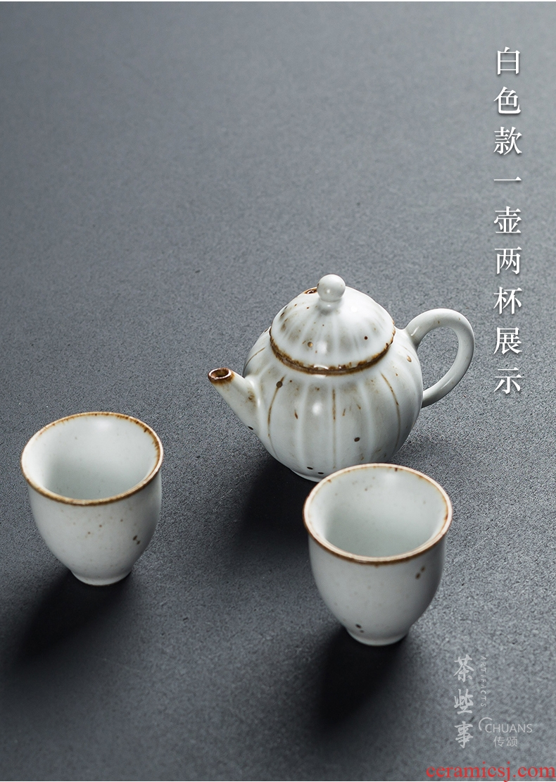 Famed creative coarse pottery kung fu tea set a complete set of restoring ancient ways of household ceramic teapot teacup tea tea ceremony