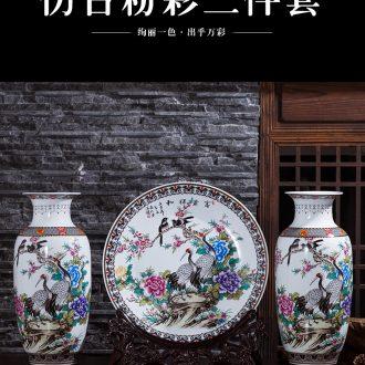 Jingdezhen ceramics vase Chinese penjing flower arranging large three - piece wine cabinet decoration plate household decoration - 567359198964