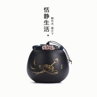 Quiet life coarse pottery tea pot black pottery ceramic seal tank mini portable storage puer tea POTS
