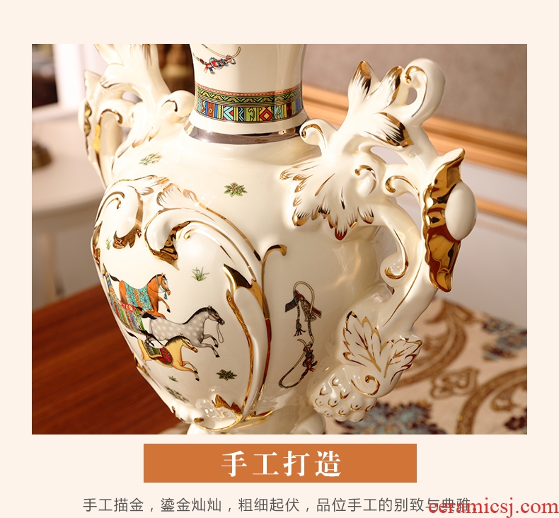 Creative designers vase furnishing articles large ceramic flower arranging device north European style living room home soft decoration light key-2 luxury - 569138169002