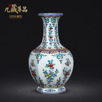Jingdezhen ceramics vase furnishing articles celebrity hand-painted ceramic vase archaize ceramic vases, bucket color hexagonal vase