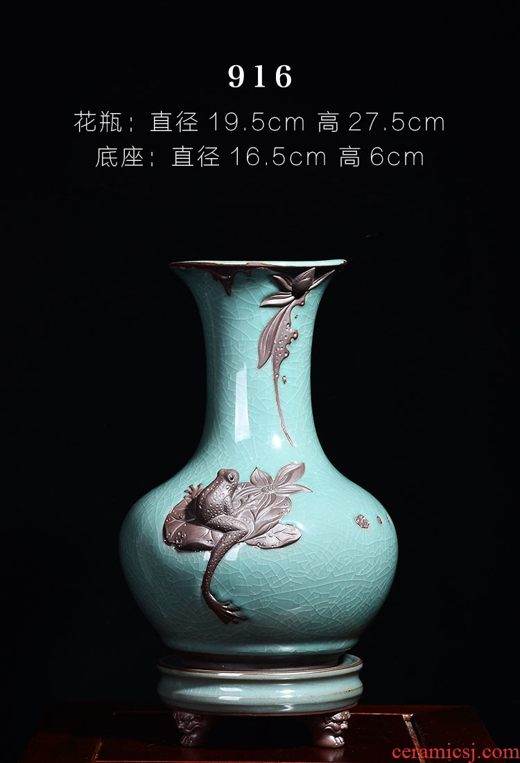 Ceramic vases, flower arrangement sitting room place I and contracted retro dry flower of large European jingdezhen porcelain pot - 565788896491