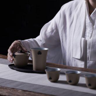 Million kilowatt/hall of ceramic tea set a complete set of kung fu tea set gift boxes with small tea tray tea art suit blue skies