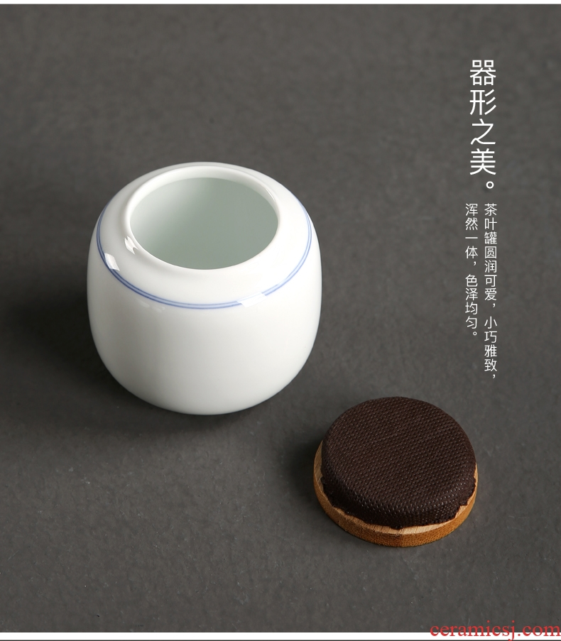 Passes on technique the up ceramic mini trumpet tieguanyin tea caddy fixings seal cylinder herbs can of portable storage POTS