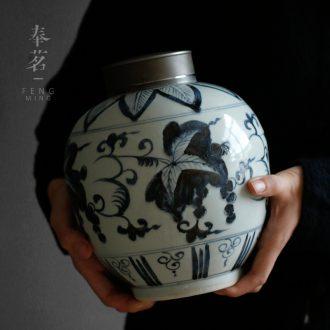"Serve tea ""YunZhai hand - made blue large tin flap ceramic checking tea caddy fixings seal storage POTS"