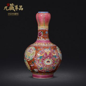 Jingdezhen ceramics imitation qing qianlong hand-painted paint powder enamel bottle collection sitting room home decoration