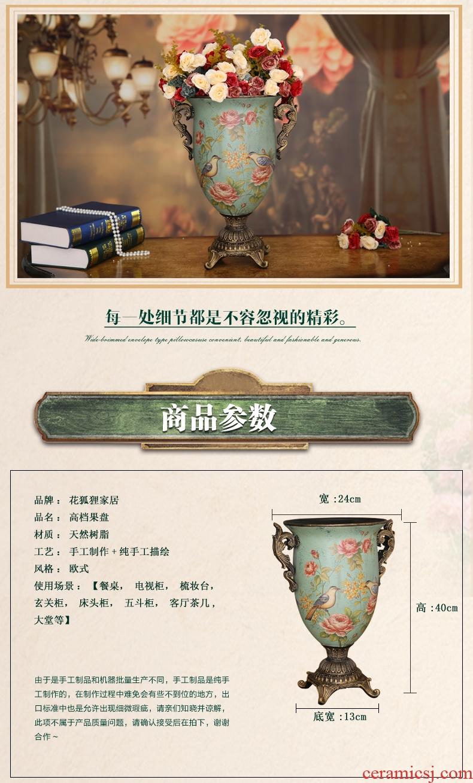 Jingdezhen light key-2 luxury of new Chinese style ceramic furnishing articles sitting room big vase flower arranging European - style decoration decoration landing - 524952644629